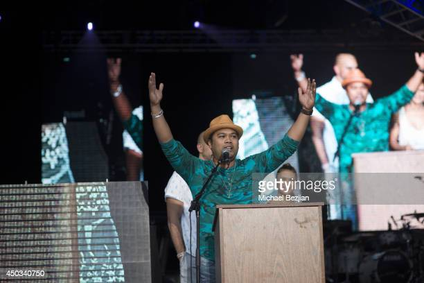 Manny Guevara speaks at Apldeap Foundation Presents REBUILD PHILIPPINES at The Greek Theatre on June 8 2014 in Los Angeles California