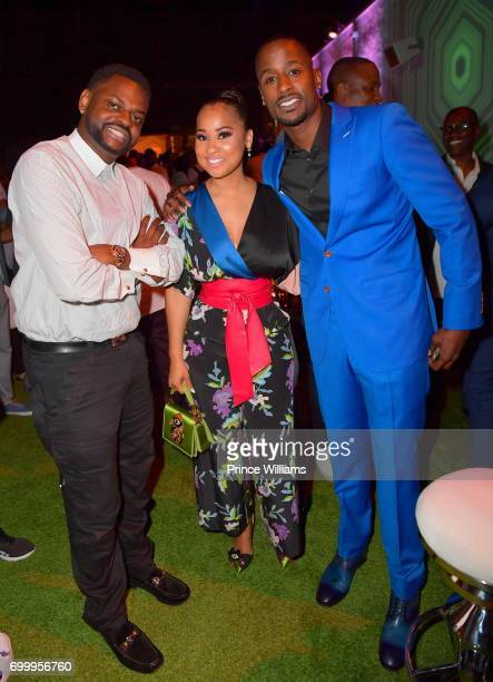 Manny Halley Tammy Rivera and Jackie Long attend Debra Lee Pre BET Awards Dinner at The London West Hollywood on June 21 2017 in West Hollywood...