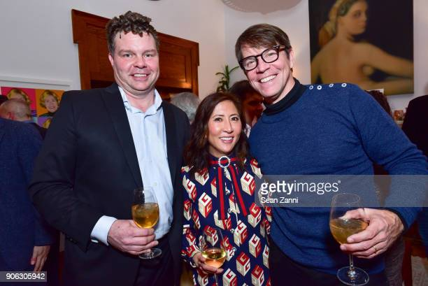 Manny Howard Janice Min and Hugo Lindgren attend publisher Henry Holt toasts Michael Wolff's 'Fire and Fury' at Private Residence on January 17 2018...