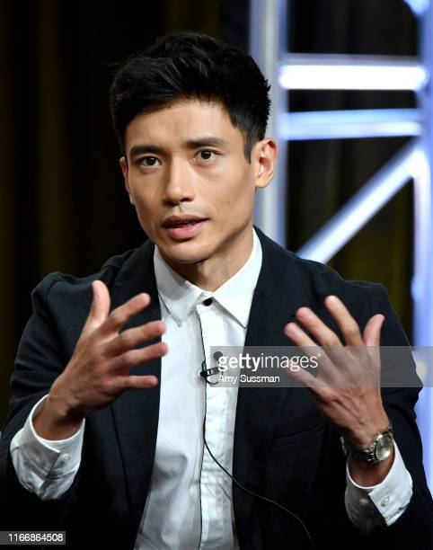 Manny Jacinto of 'The Good Place' speaks during the NBC segment of the 2019 Summer TCA Press Tour at The Beverly Hilton Hotel on August 08 2019 in...