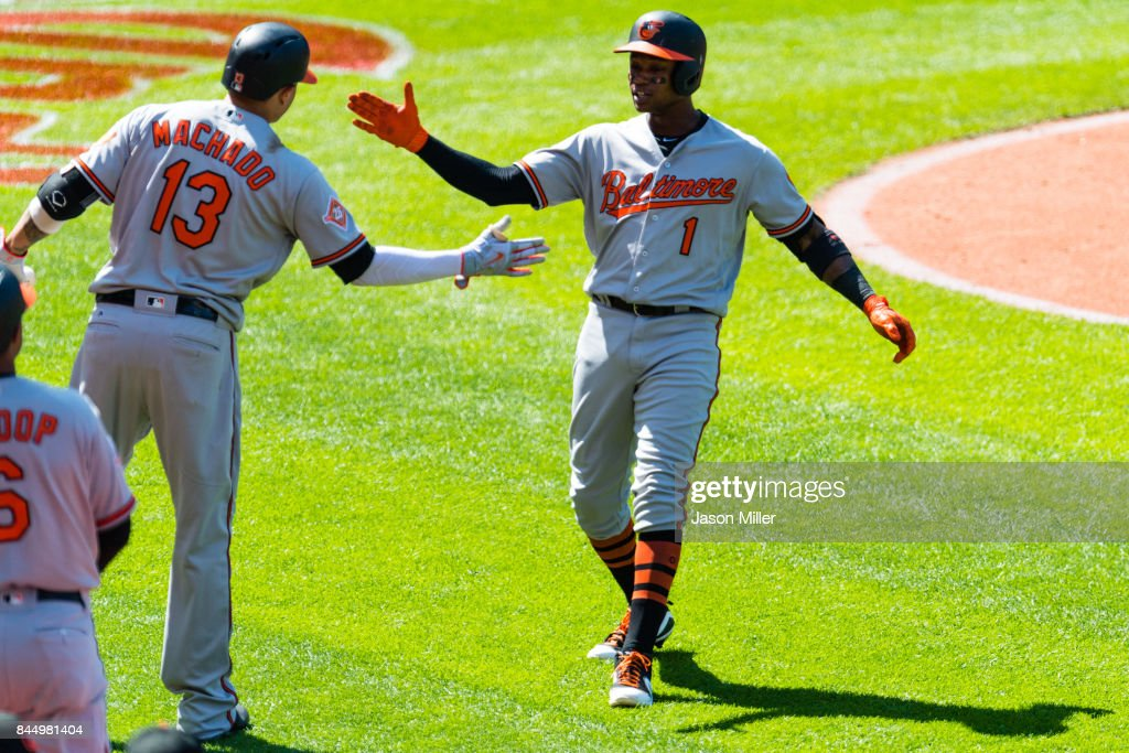 Manny Machado #13 celebrates with Tim Beckham #1 of the Baltimore Orioles after Beckham hit a solo home run during the sixth inning against the Cleveland Indians at Progressive Field on September 9, 2017 in Cleveland, Ohio.