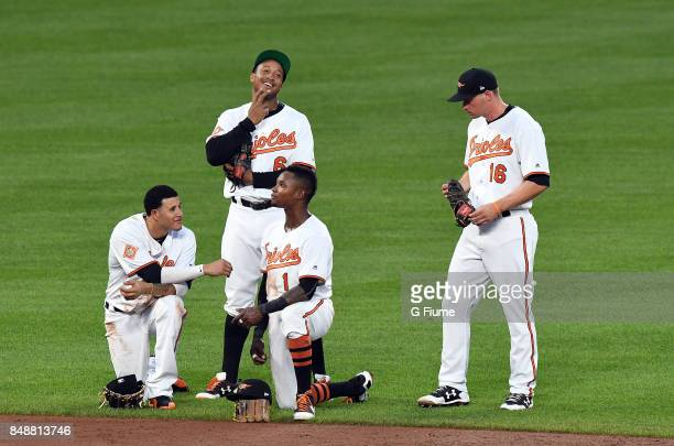 Manny Machado Jonathan Schoop Tim Beckham and Trey Mancini of the Baltimore Orioles talk during a break in the game against the Los Angeles Angels at...
