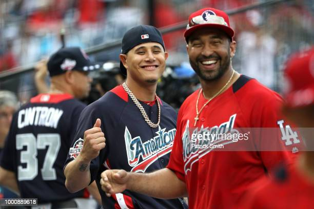 Manny Machado of the Baltimore Orioles and the American League and Matt Kemp of the Los Angeles Dodgers and the National League speak before the 89th...