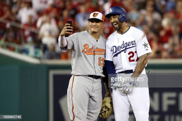 Manny Machado of the Baltimore Orioles and the American League and Matt Kemp of the Los Angeles Dodgers and the National League pose for a selfie in...
