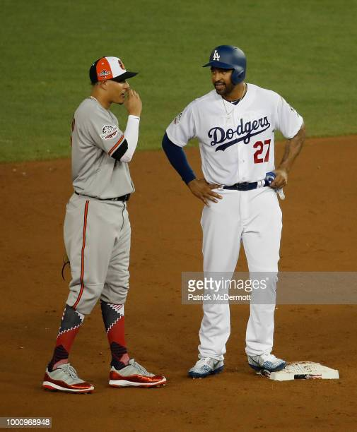 Manny Machado of the Baltimore Orioles and the American League and Matt Kemp of the Los Angeles Dodgers and the National League speak in the second...