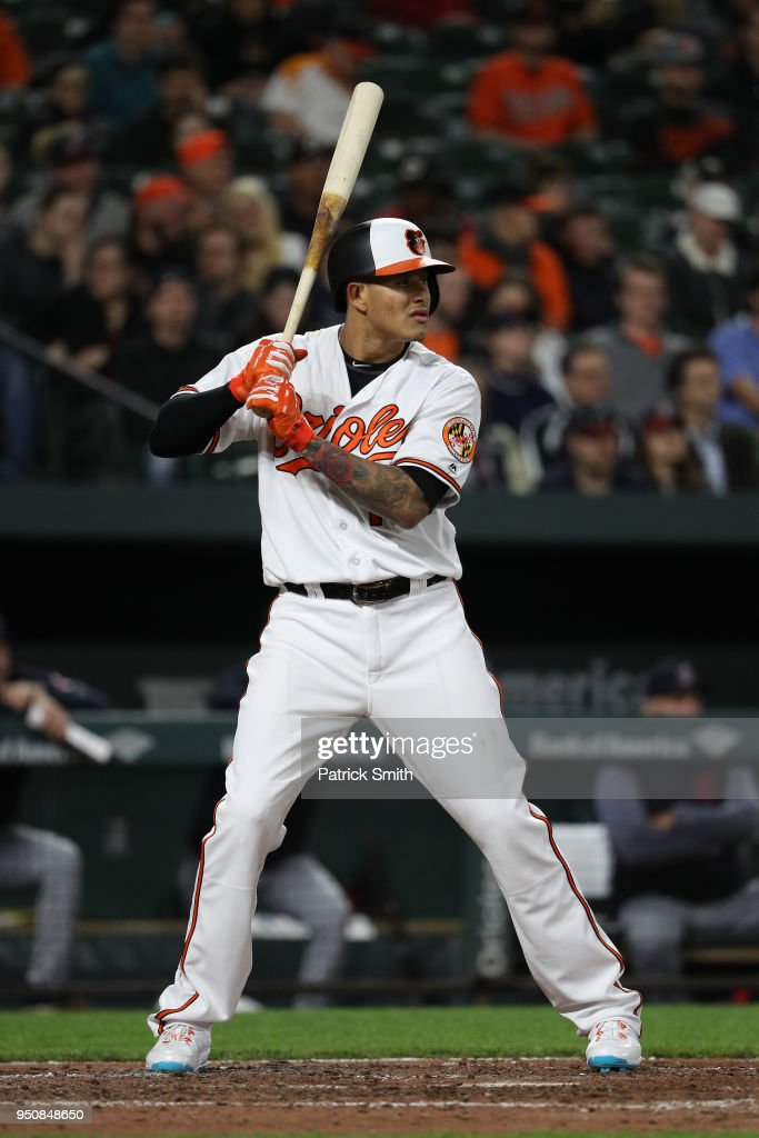 Manny Machado #13 of the Baltimore Orioles bats against the Cleveland Indians at Oriole Park at Camden Yards on April 23, 2018 in Baltimore, Maryland.