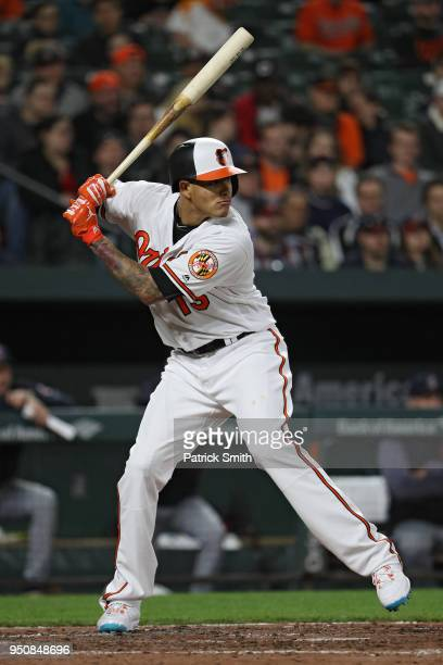 Manny Machado of the Baltimore Orioles bats against the Cleveland Indians at Oriole Park at Camden Yards on April 23 2018 in Baltimore Maryland