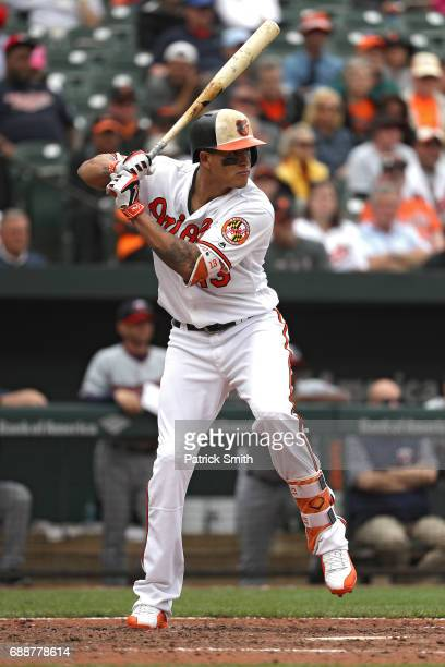 Manny Machado of the Baltimore Orioles bats against the Minnesota Twins at Oriole Park at Camden Yards on May 24 2017 in Baltimore Maryland