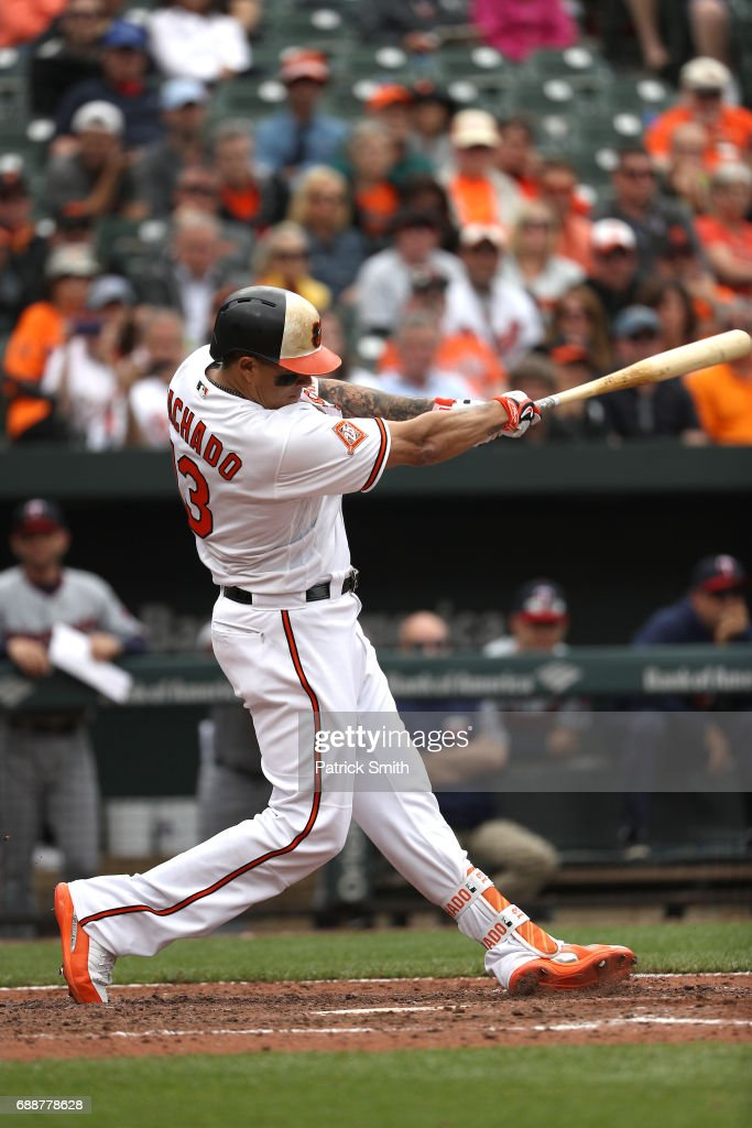 Manny Machado #13 of the Baltimore Orioles bats against the Minnesota Twins at Oriole Park at Camden Yards on May 24, 2017 in Baltimore, Maryland.