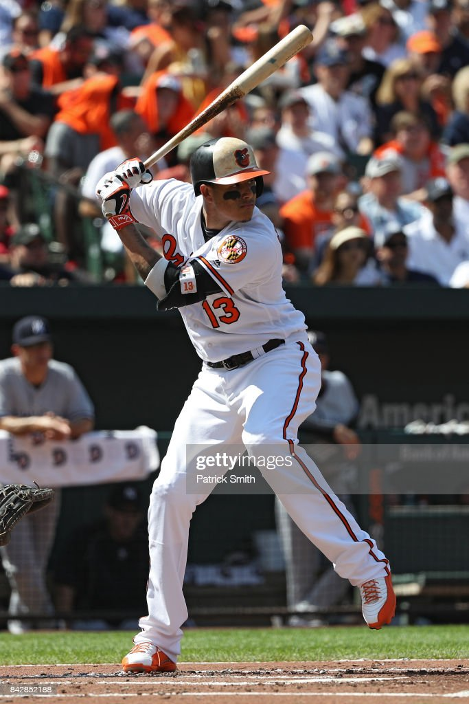 Manny Machado #13 of the Baltimore Orioles bats against the New York Yankees at Oriole Park at Camden Yards on September 4, 2017 in Baltimore, Maryland.