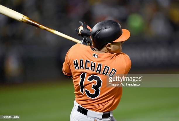Manny Machado of the Baltimore Orioles bats against the Oakland Athletics in the top of the ninth inning at Oakland Alameda Coliseum on August 12...