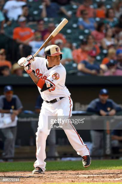 Manny Machado of the Baltimore Orioles bats against the Tampa Bay Rays at Oriole Park at Camden Yards on September 24 2017 in Baltimore Maryland