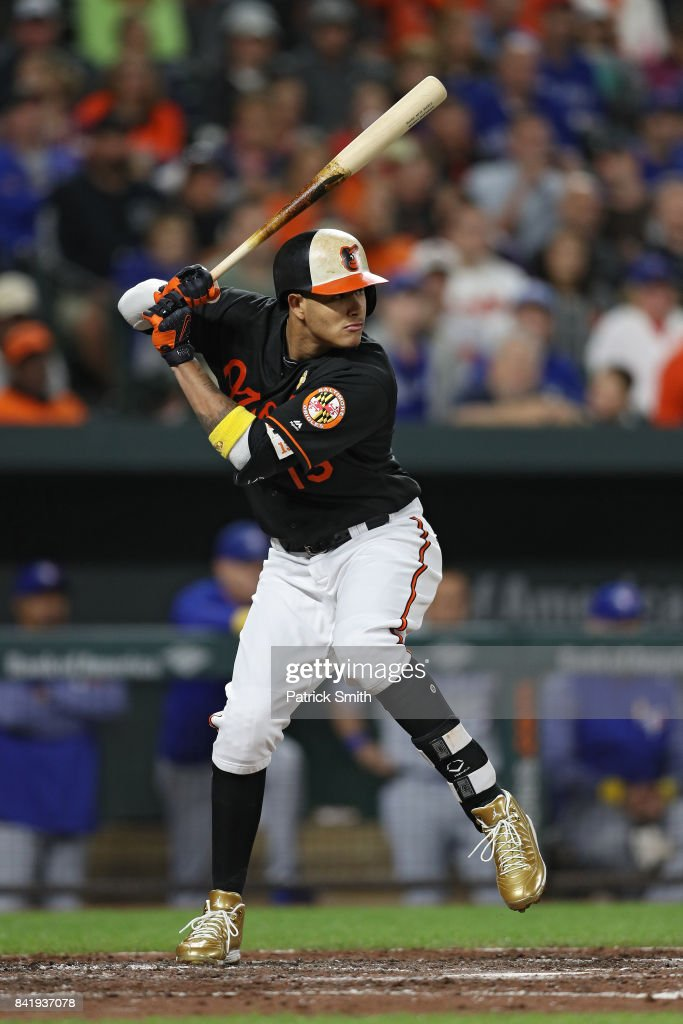 Manny Machado #13 of the Baltimore Orioles bats against the Toronto Blue Jays at Oriole Park at Camden Yards on September 1, 2017 in Baltimore, Maryland.