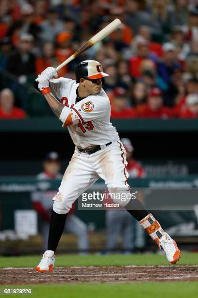 Manny Machado of the Baltimore Orioles bats against the Washington Nationals in the sixth inning at Oriole Park at Camden Yards on May 9 2017 in...