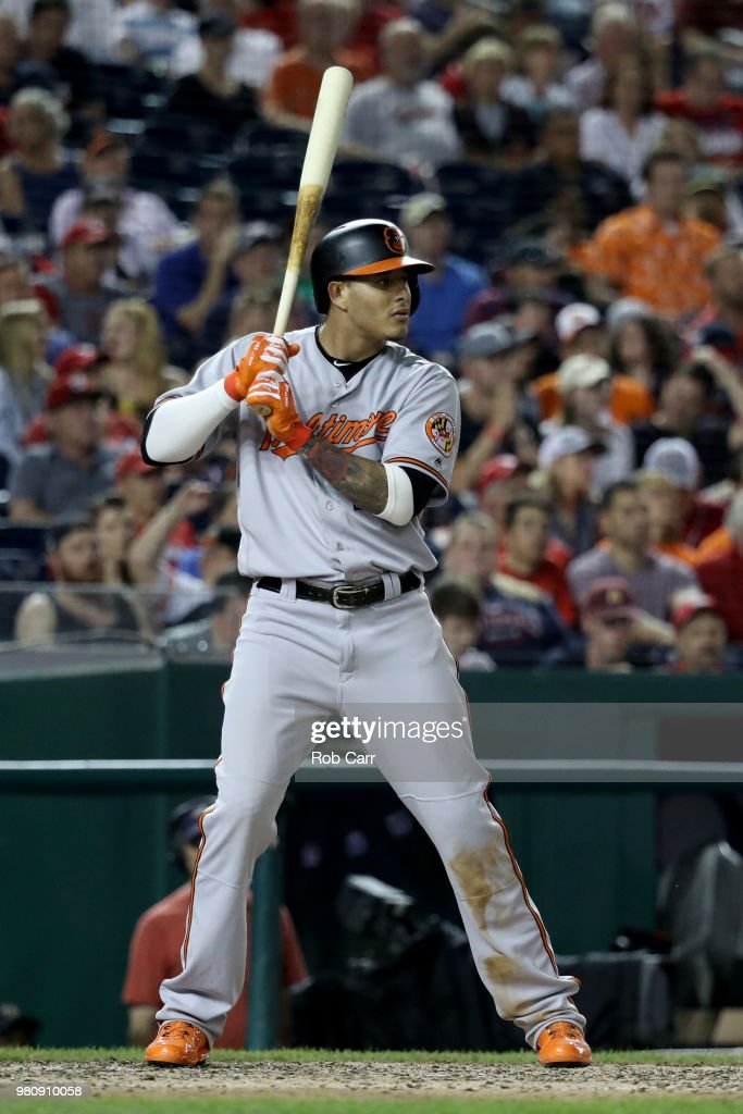 Manny Machado #13 of the Baltimore Orioles bats against the Washington Nationals at Nationals Park on June 21, 2018 in Washington, DC.
