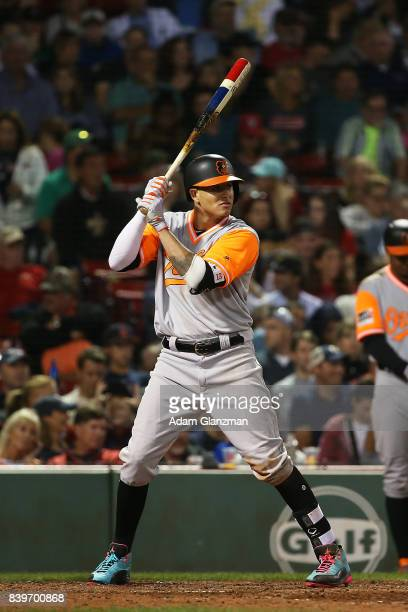 Manny Machado of the Baltimore Orioles bats during a game against the Boston Red Sox at Fenway Park on August 25 2017 in Boston Massachusetts