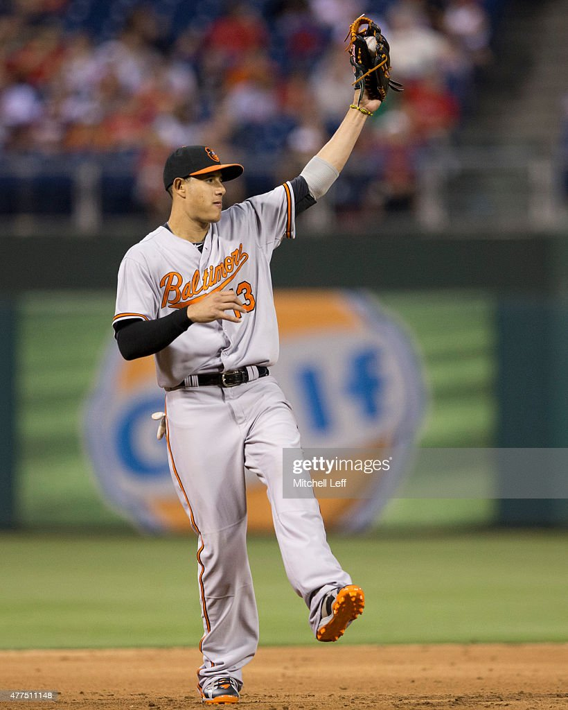 Manny Machado #13 of the Baltimore Orioles catches a line drive in the bottom of the fifth inning against the Philadelphia Phillies on June 17, 2015 at the Citizens Bank Park in Philadelphia, Pennsylvania. The Orioles defeated the Phillies 6-4.