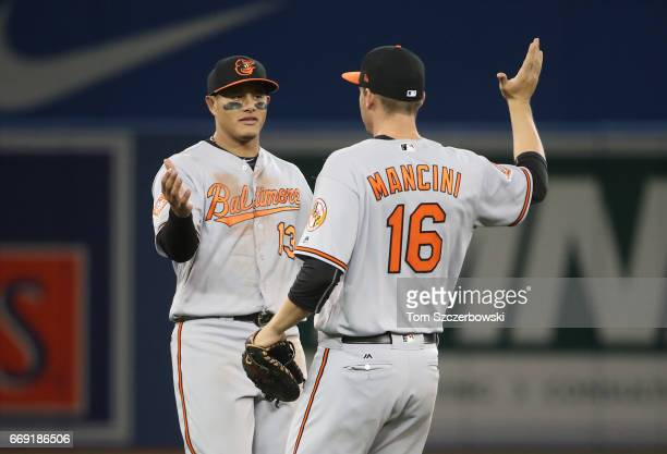 Manny Machado of the Baltimore Orioles celebrates their victory with Trey Mancini during MLB game action against the Toronto Blue Jays at Rogers...