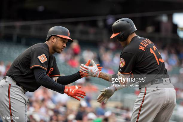 Manny Machado of the Baltimore Orioles celebrates with Jonathan Schoop after hitting a home run against the Minnesota Twins on July 7 2017 at Target...