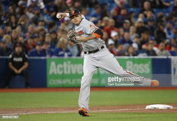 Manny Machado of the Baltimore Orioles fields a soft grounder but does not have a play and chooses to hold on to the ball in the sixth inning during...