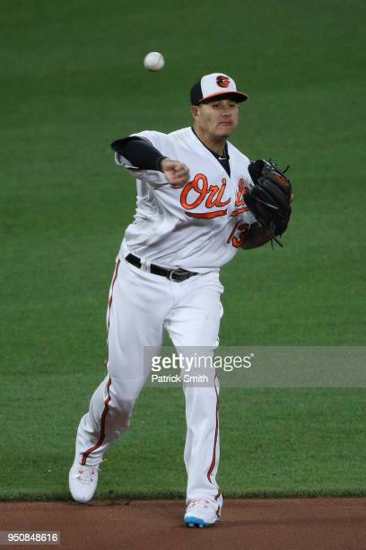 Manny Machado of the Baltimore Orioles fields against the Cleveland Indians at Oriole Park at Camden Yards on April 23 2018 in Baltimore Maryland