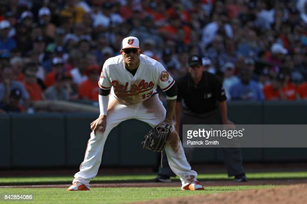 Manny Machado of the Baltimore Orioles fields against the New York Yankees at Oriole Park at Camden Yards on September 4 2017 in Baltimore Maryland