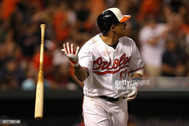 Manny Machado of the Baltimore Orioles flips his bat after hitting a three run home run against the Boston Red Sox during the seventh inning at...