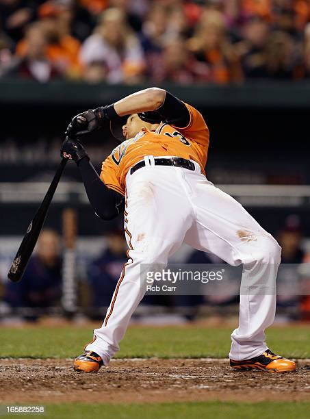 Manny Machado of the Baltimore Orioles gets out of the way of a pitch during the fifth inning against the Minnesota Twins at Oriole Park at Camden...