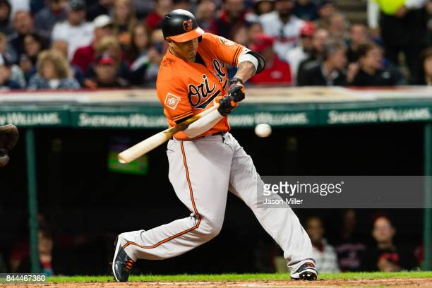 Manny Machado of the Baltimore Orioles hits a single during the third inning against the Cleveland Indians at Progressive Field on September 8 2017...