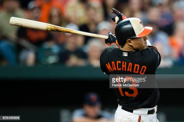 Manny Machado of the Baltimore Orioles hits a solo home run in the third inning during a game against the Detroit Tigers at Oriole Park at Camden...