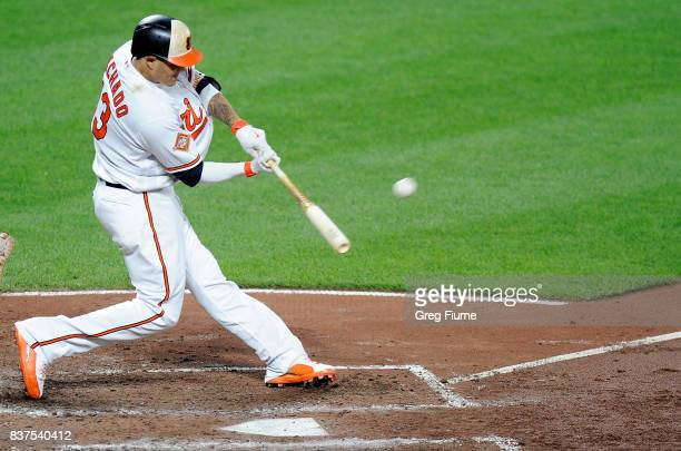 Manny Machado of the Baltimore Orioles hits a tworun home run in the sixth inning against the Oakland Athletics at Oriole Park at Camden Yards on...