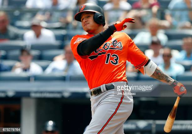 Manny Machado of the Baltimore Orioles in action against the New York Yankees at Yankee Stadium on April 29 2017 in the Bronx borough of New York...