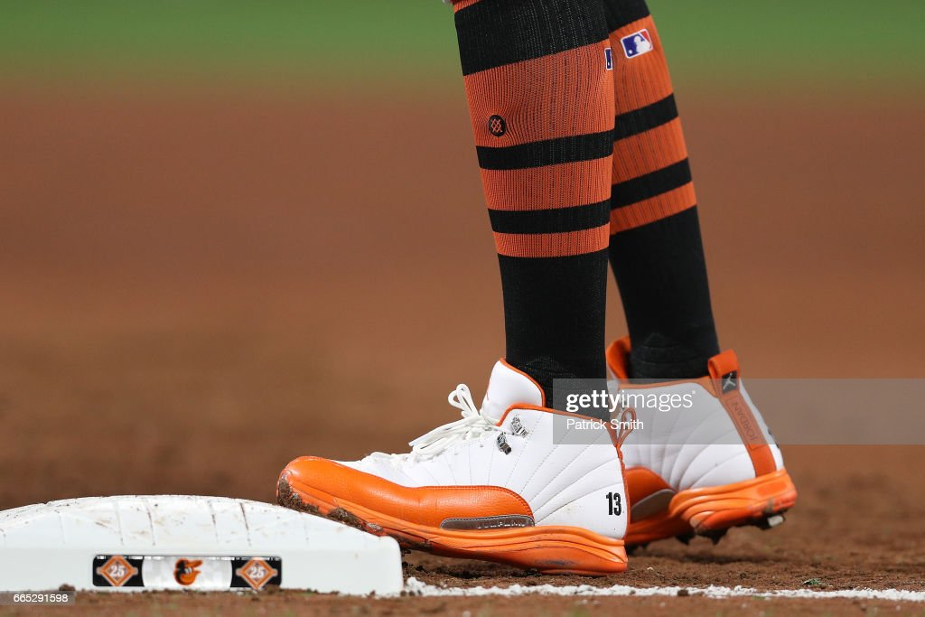 Manny Machado #13 of the Baltimore Orioles in action against the Toronto Blue Jays at Oriole Park at Camden Yards on April 5, 2017 in Baltimore, Maryland.
