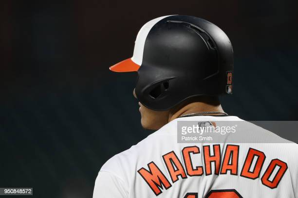 Manny Machado of the Baltimore Orioles looks on against the Cleveland Indians at Oriole Park at Camden Yards on April 23 2018 in Baltimore Maryland