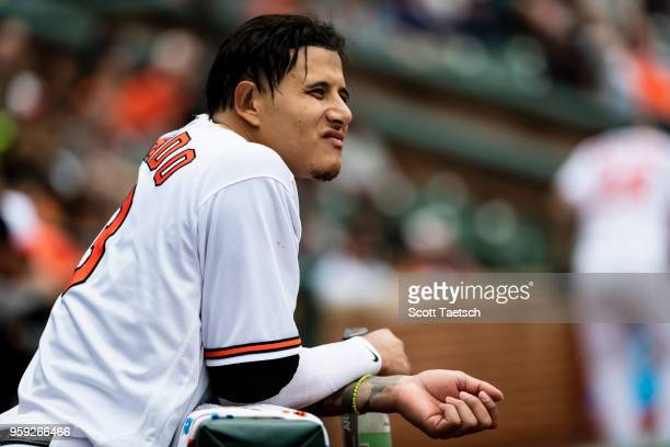 Manny Machado of the Baltimore Orioles looks on during the eighth inning against the Philadelphia Phillies at Oriole Park at Camden Yards on May 16...