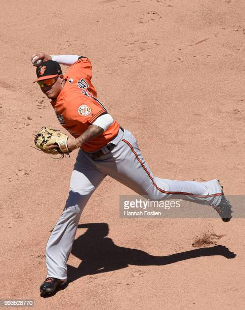 Manny Machado of the Baltimore Orioles makes a play at shortstop to get out Jorge Polanco of the Minnesota Twins at first base during the fifth...