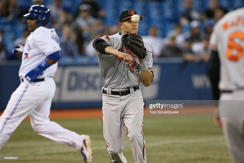 Manny Machado #13 of the Baltimore Orioles makes the play on an RBI groundout in the eighth inning during MLB game action against the Toronto Blue Jays on May 23, 2013 at Rogers Centre in Toronto, Ontario, Canada.
