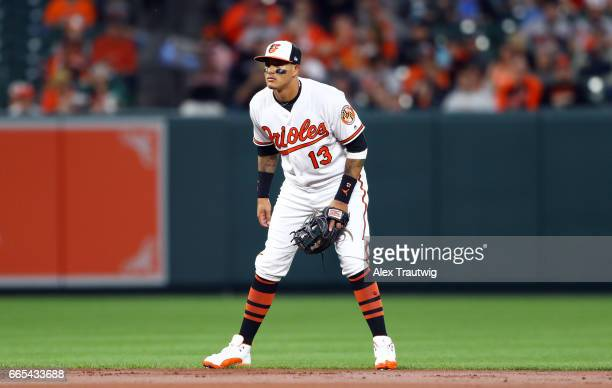 Manny Machado of the Baltimore Orioles plays defense during the game against the Toronto Blue Jays at Oriole Park at Camden Yards on Wednesday April...