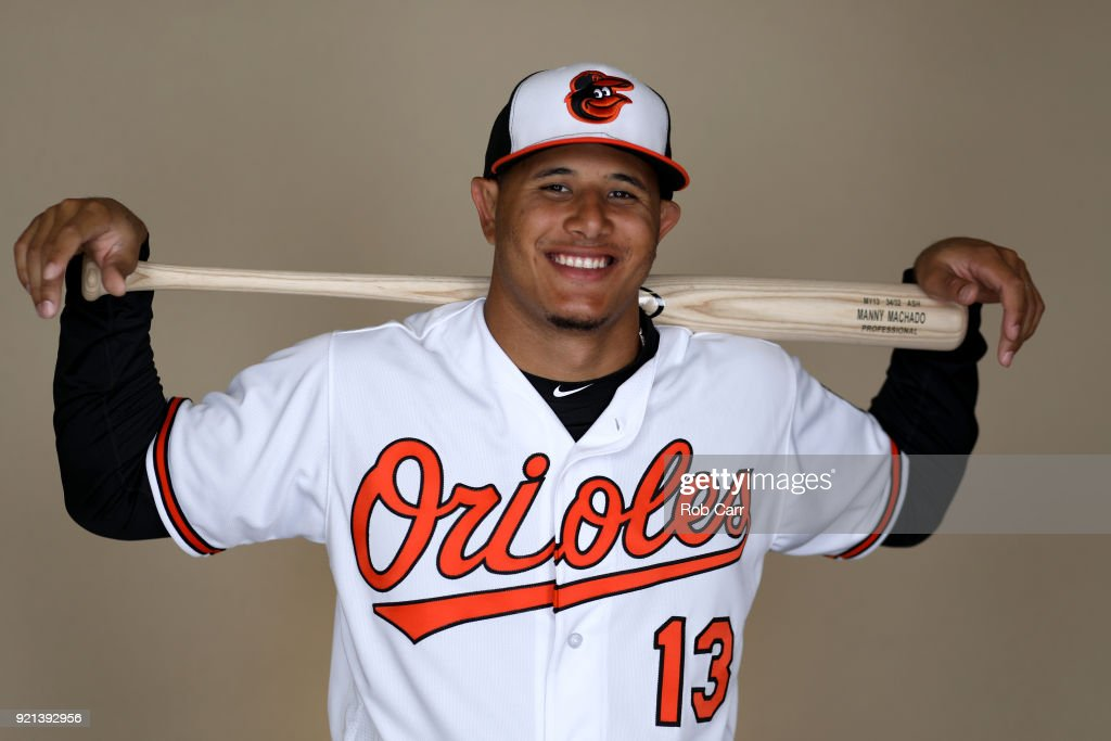 Manny Machado #13 of the Baltimore Orioles poses for a photo during photo days at Ed Smith Stadium on February 20, 2018 in Sarasota, FL.