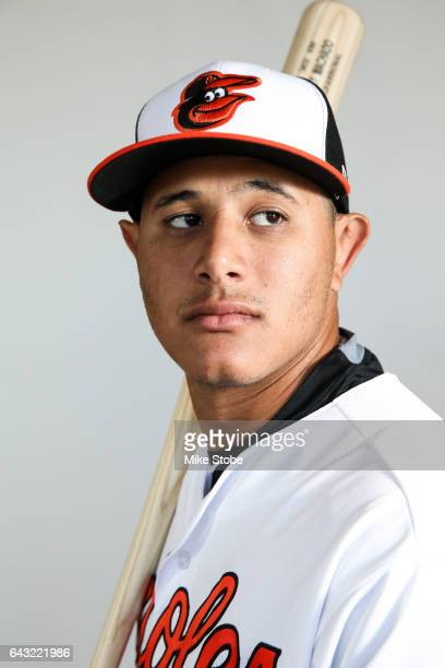 Manny Machado of the Baltimore Orioles poses for a portait during a MLB photo day at Ed Smith Stadium on February 20 2017 in Sarasota Florida