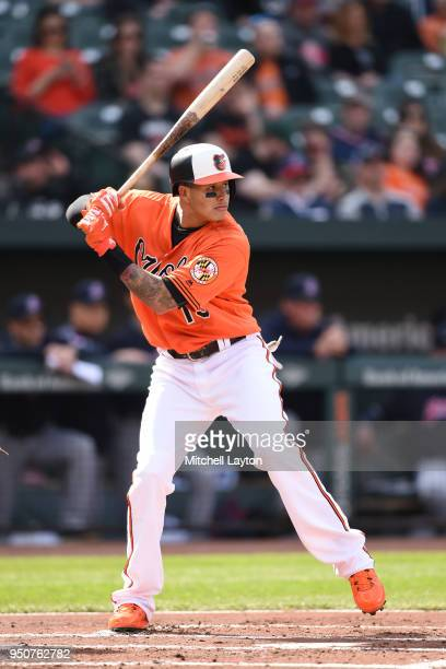 Manny Machado of the Baltimore Orioles prepares for a pitch during a baseball game against the Cleveland Indians at Oriole Park at Camden Yards on...