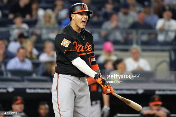 Manny Machado of the Baltimore Orioles reacts after striking out while looking in the first inning on September 15 2017 at Yankee Stadium in the...