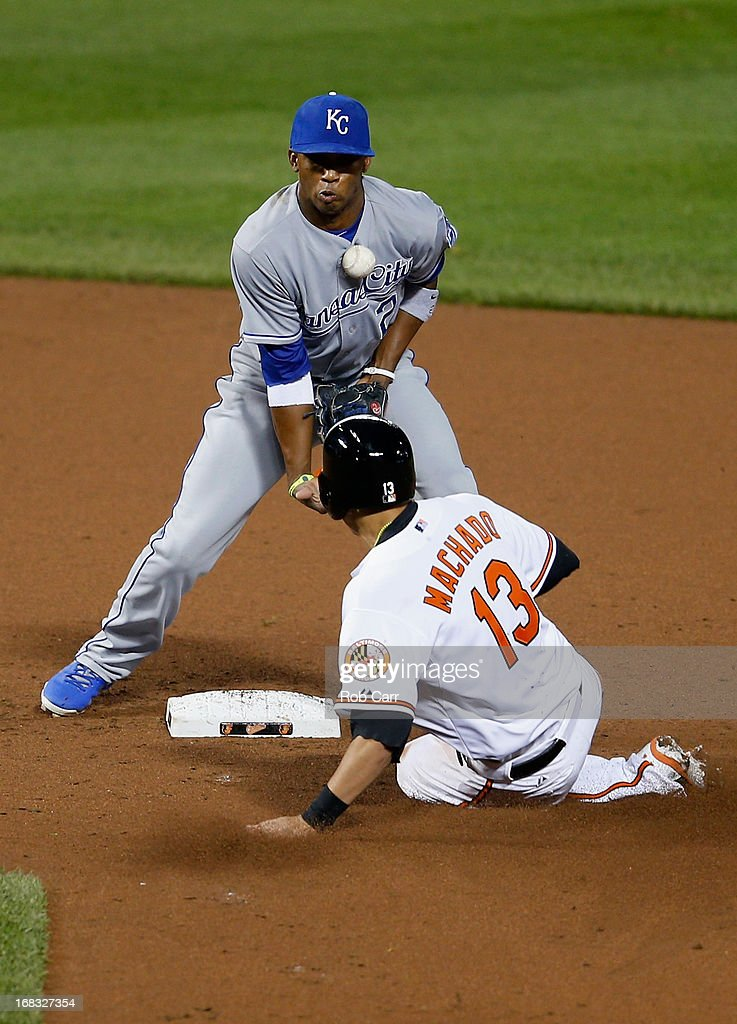 Manny Machado #13 of the Baltimore Orioles steals second base as shortstop Alcides Escobar #2 of the Kansas City Royals bobbles the ball during the fifth inning at Oriole Park at Camden Yards on May 8, 2013 in Baltimore, Maryland.