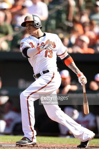 Manny Machado of the Baltimore Orioles takes a swing during a baseball game against the Tampa Bay Rays at Oriole Park at Camden Yards on September 24...