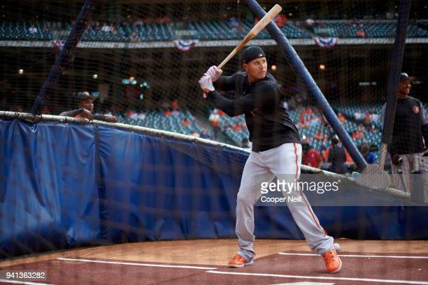Manny Machado of the Baltimore Orioles takes batting practice before the first pitch against the Houston Astros at Minute Maid Park on Monday April 2...