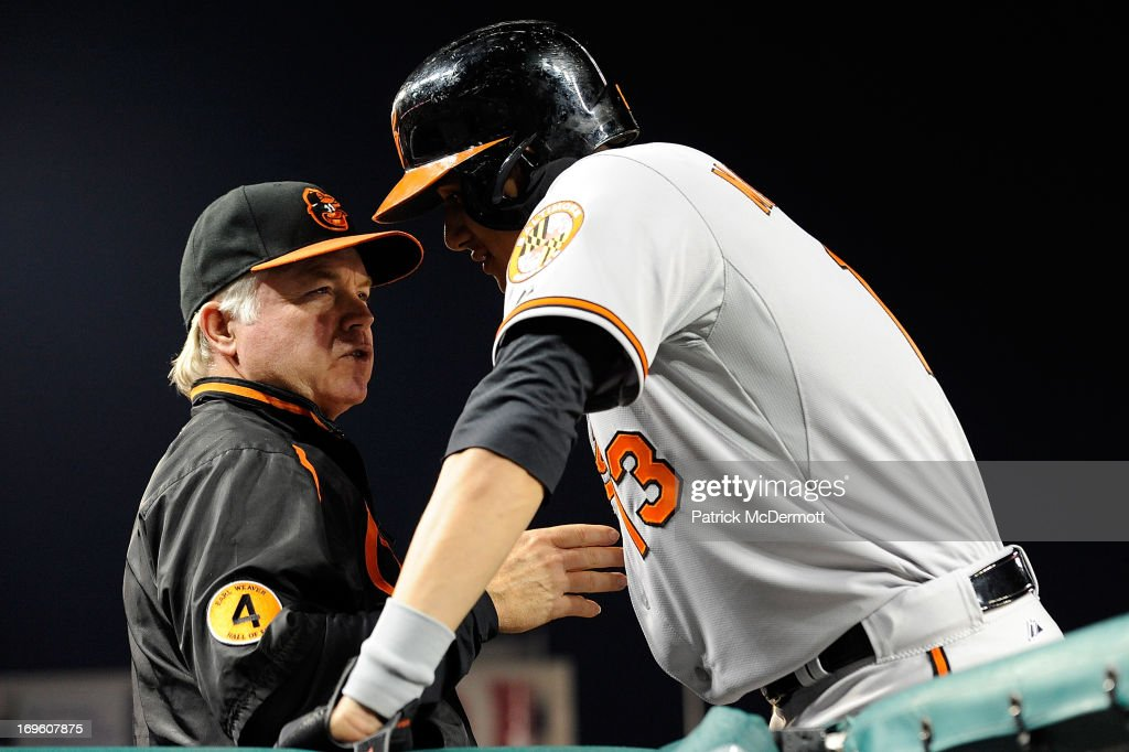 Manny Machado #13 of the Baltimore Orioles talks with manager Buck Showalter #26 before hitting in the third inning during an interleague game against the Washington Nationals at Nationals Park on May 28, 2013 in Washington, DC.