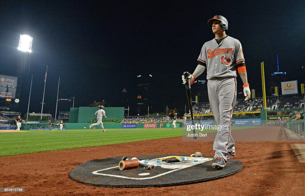 Manny Machado #13 of the Baltimore Orioles waits on deck in the seventh inning during the game against the Pittsburgh Pirates at PNC Park on September 27, 2017 in Pittsburgh, Pennsylvania.