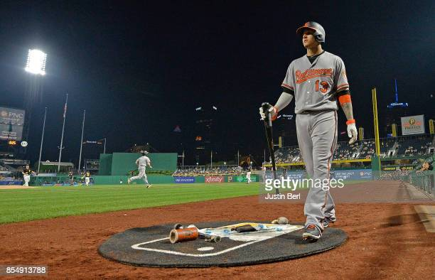 Manny Machado of the Baltimore Orioles waits on deck in the seventh inning during the game against the Pittsburgh Pirates at PNC Park on September 27...