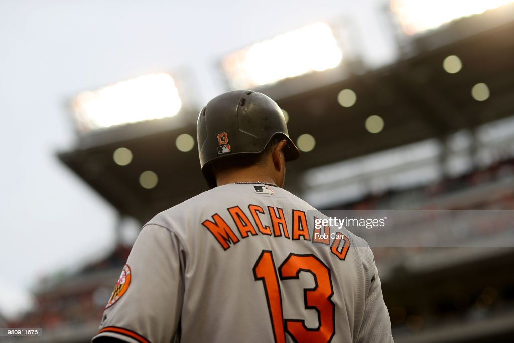 Manny Machado #13 of the Baltimore Orioles waits to bat against the Washington Nationals at Nationals Park on June 21, 2018 in Washington, DC.
