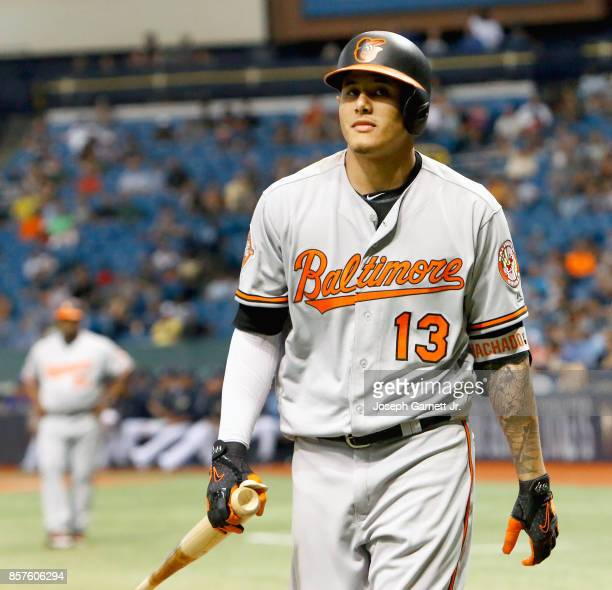 Manny Machado of the Baltimore Orioles walks back to the dugout after striking out during the game against the Tampa Bay Rays at Tropicana Field on...